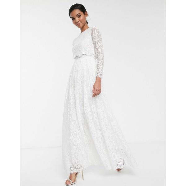 エイソス レディース ワンピース トップス ASOS EDITION lace long sleeve crop top maxi wedding dress Ivory