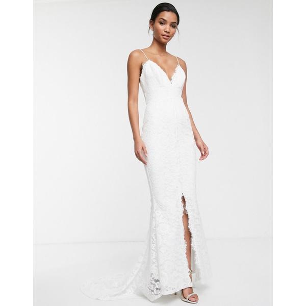 エイソス レディース ワンピース トップス ASOS EDITION lace cami wedding dress White