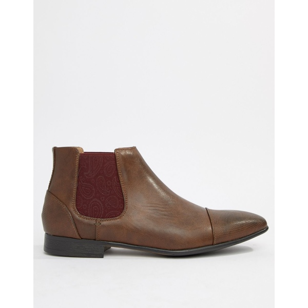 トゥラッフル メンズ ブーツ&レインブーツ シューズ Truffle Collection Chelsea Boot with Paisley Gusset in Brown Brown/wine paisle