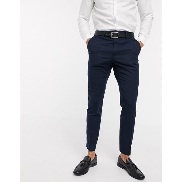 フレンチコネクション メンズ カジュアルパンツ ボトムス French Connection wedding slim fit flannel suit pants Marine
