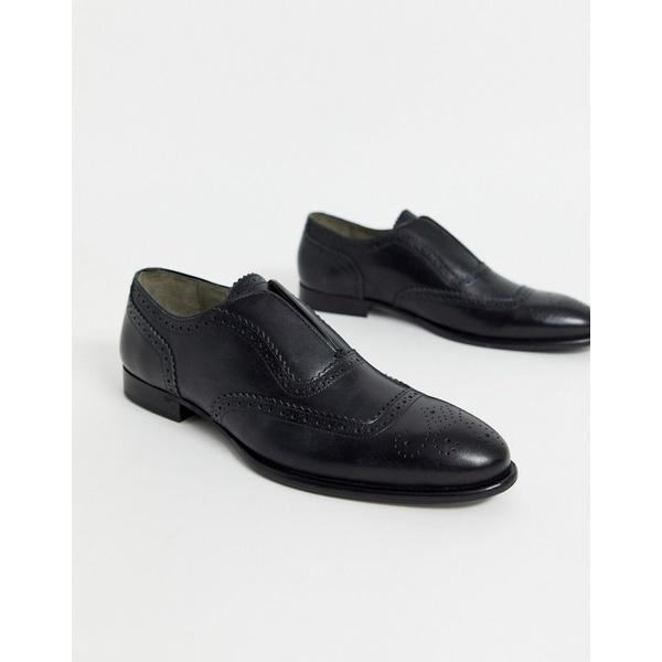 ボロンガロトレバー メンズ スニーカー シューズ Bolongaro Trevor brogue slip on leather shoes Black