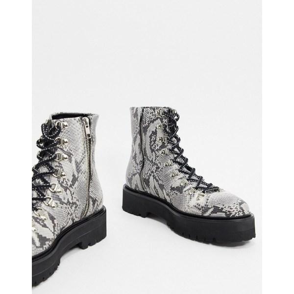 エイソス メンズ ブーツ&レインブーツ シューズ ASOS EDITION lace up boot with snake skin texture in gray Gray