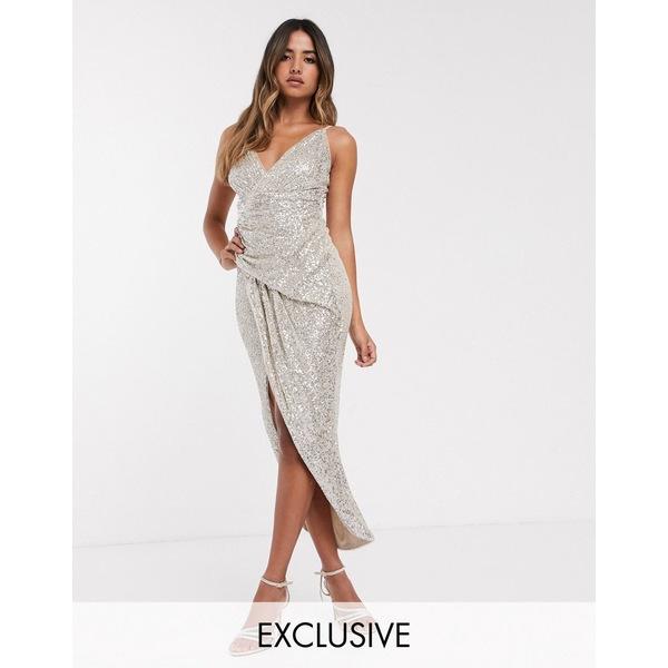 ティエフエヌシー レディース ワンピース トップス TFNC wrap front sequin maxi dress in silver Silver