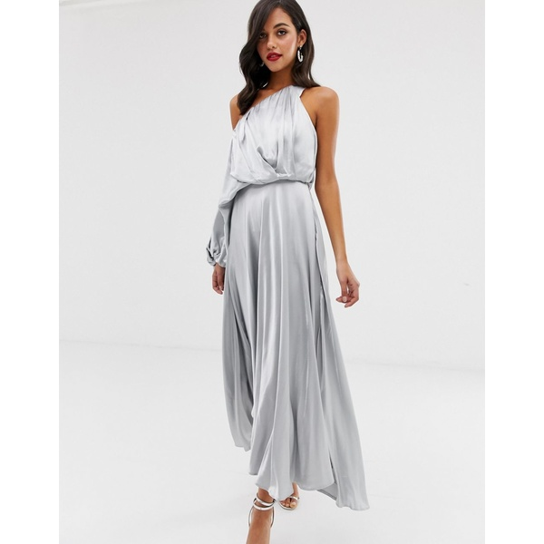 エイソス レディース ワンピース トップス ASOS EDITION blouson one shoulder dress in satin Pastel blue
