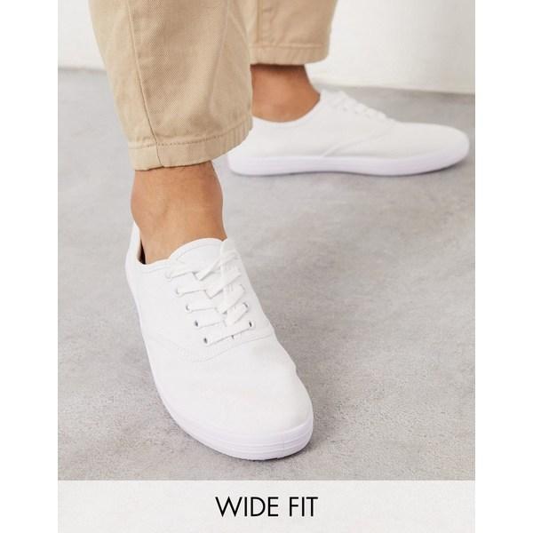 エイソス メンズ スニーカー シューズ ASOS DESIGN Wide Fit oxford plimsolls in white canvas White