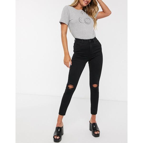 ニュールック レディース デニムパンツ ボトムス New Look shape and lift skinny jeans with rips in black Black
