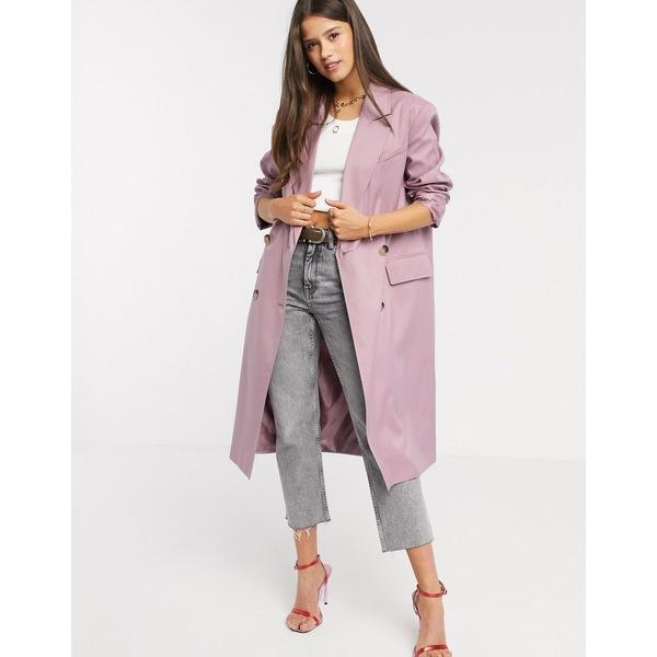 エイソス レディース コート アウター ASOS DESIGN classic crepe coat in mauve Mauve