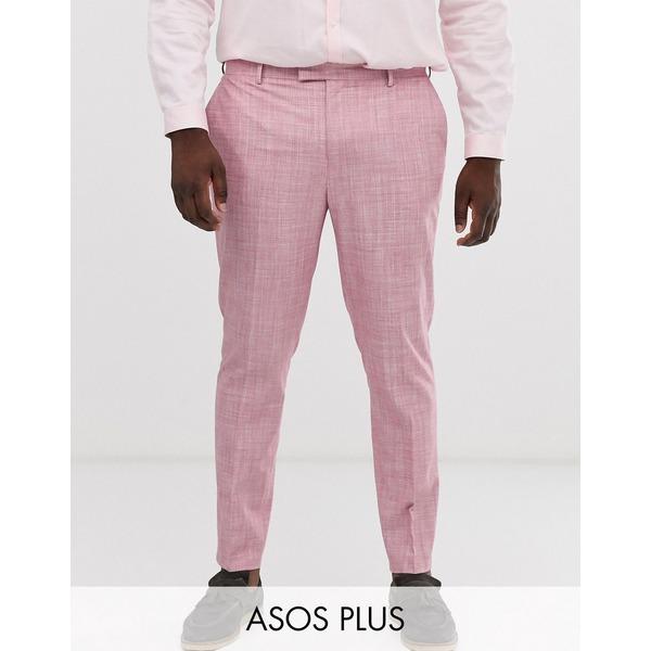 エイソス メンズ カジュアルパンツ ボトムス ASOS DESIGN Plus wedding skinny suit pants in rose pink cross hatch Pink