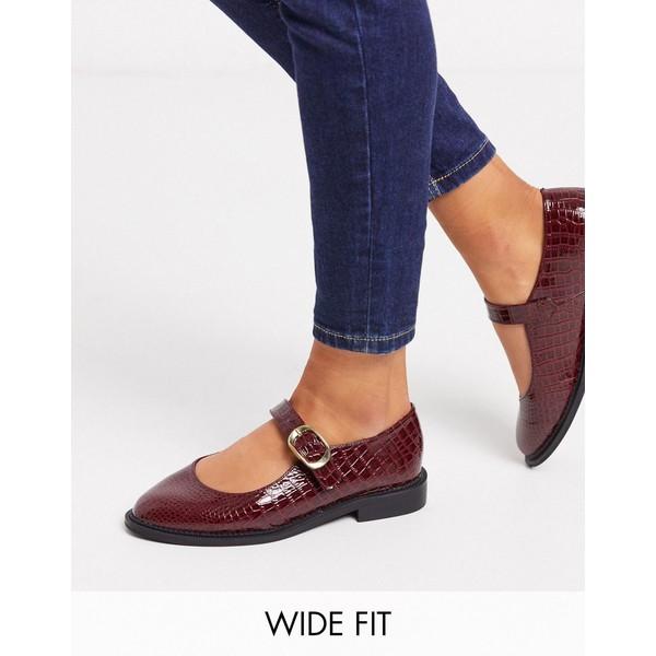 エイソス レディース スニーカー シューズ ASOS DESIGN Wide Fit Ven mary jane flat shoes in burgundy Burgundy croc