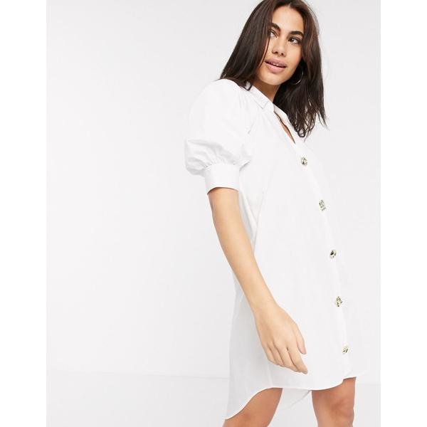 リバーアイランド レディース ワンピース トップス River Island poplin shirt dress in white White