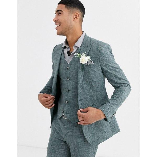 エイソス メンズ ジャケット&ブルゾン アウター ASOS DESIGN wedding skinny suit jacket in pine green crosshatch Green