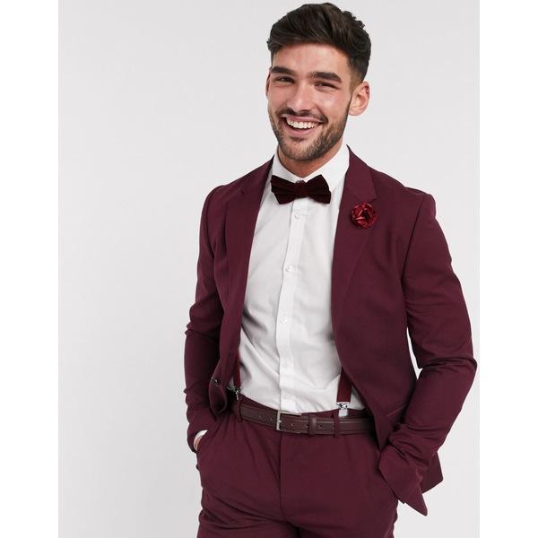 エイソス メンズ ジャケット&ブルゾン アウター ASOS DESIGN wedding skinny suit jacket in burgundy Burgundy