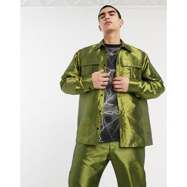 ミルクイット メンズ シャツ トップス Milk It Vintage long sleeve utility shirt in green Green