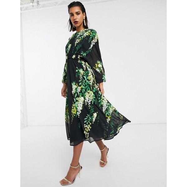エイソス レディース ワンピース トップス ASOS EDITION embellished trailing floral midi dress Multi