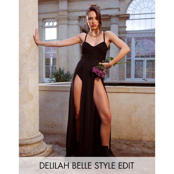 エイソス レディース ワンピース トップス ASOS DESIGN slinky corset maxi dress with lace body Black