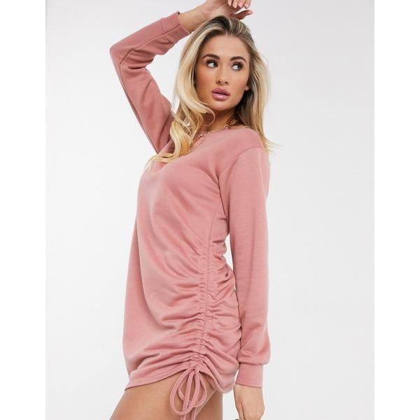 ミスガイデッド レディース ニット&セーター アウター Missguided ruched side sweater dress in rose Rose