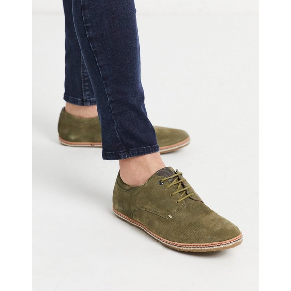ベースロンドン メンズ スニーカー シューズ Base london mavern lace up shoes in khaki suede Green
