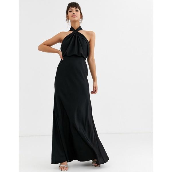 エイソス レディース ワンピース トップス ASOS EDITION ruched halter neck maxi dress Black