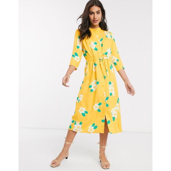 ピープル・ツリー レディース ワンピース トップス People Tree midi dress in floral print Yellow