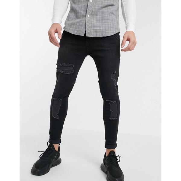 シックシルク メンズ デニムパンツ ボトムス SikSilk skinny jeans in black with distressing Black