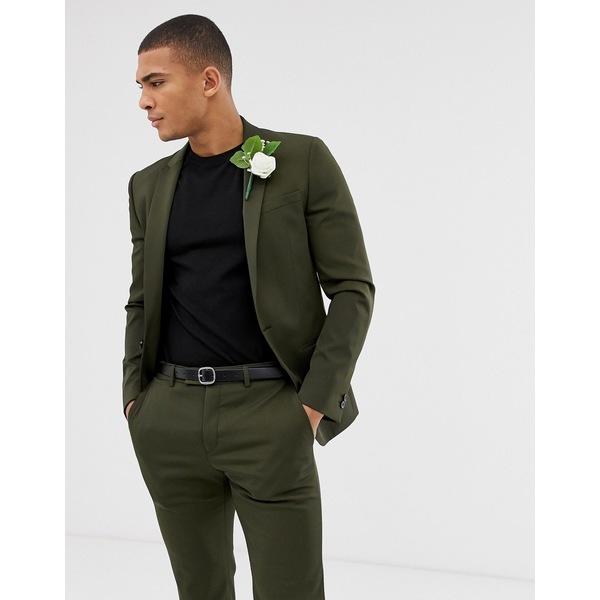 リバーアイランド メンズ ジャケット&ブルゾン アウター River Island suit jacket in khaki Khaki