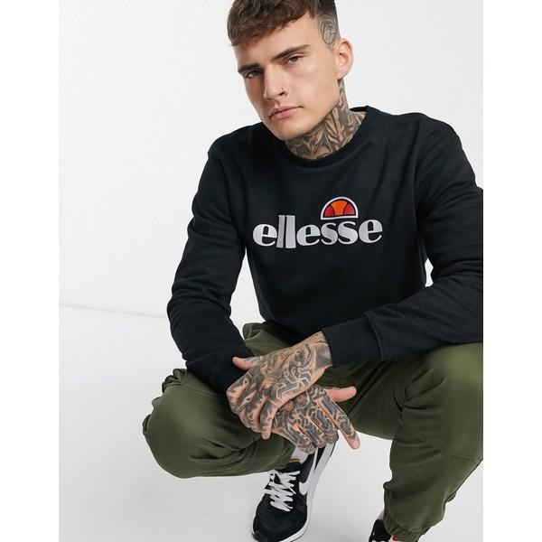 エレッセ メンズ Tシャツ トップス ellesse Pizzoli sweatshirt with reflective logo in black Black