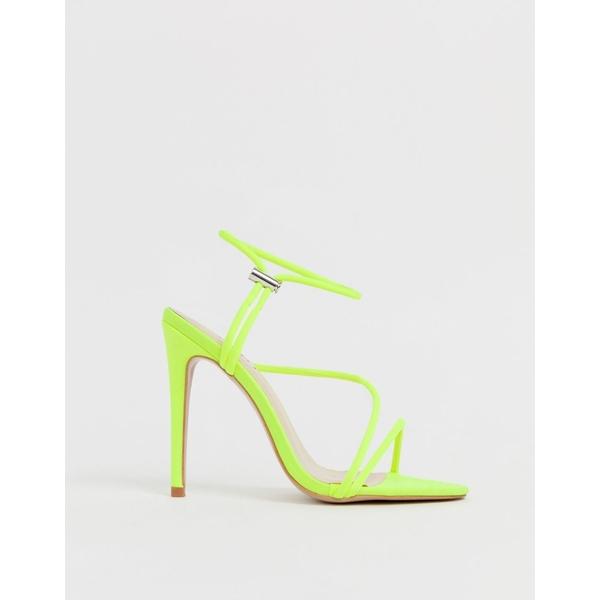 シミシューズ レディース サンダル シューズ Simmi London Cassie neon yellow toggle detail heeled sandals Neon yellow