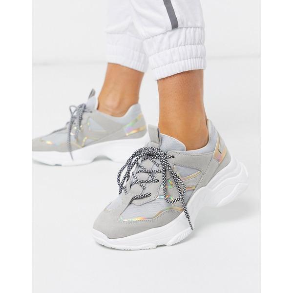 ロンドンレベル レディース スニーカー シューズ London Rebel chunky runner sneakers in gray mix Grey/irredescent