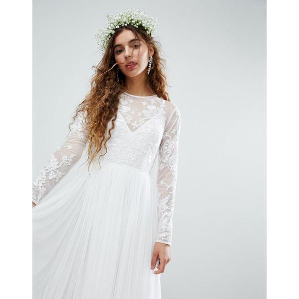 エイソス レディース ワンピース トップス ASOS EDITION embroidered bodice maxi wedding dress White