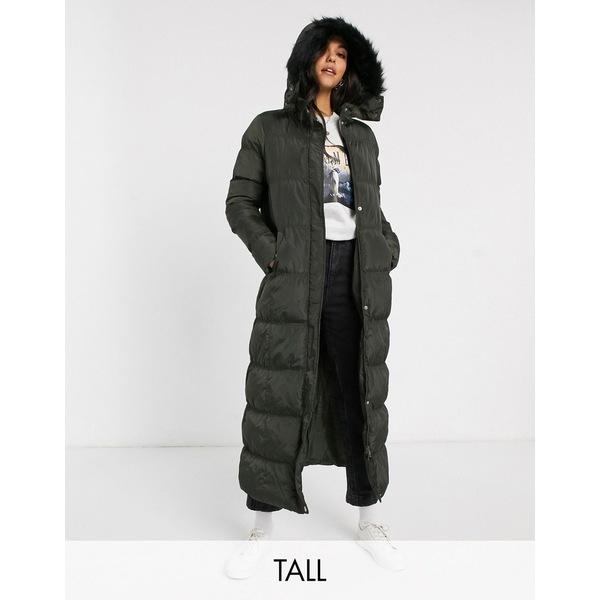 ブレーブソール レディース ジャケット&ブルゾン アウター Brave Soul Tall hopma longline puffer jacket with faux fur trim hood Khaki