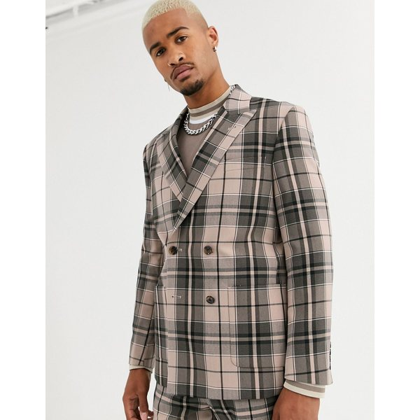 エイソス メンズ ジャケット&ブルゾン アウター ASOS DESIGN boxy double breasted suit jacket in camel check Camel