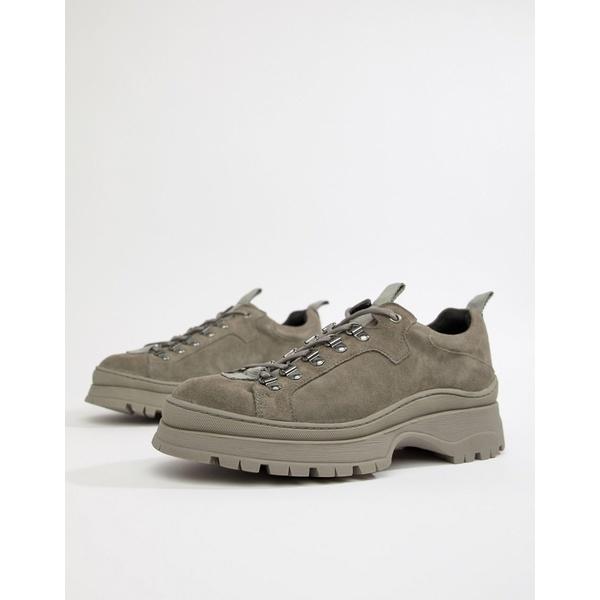シューズ with suede in sole shoes DESIGN スニーカー Gray エイソス メンズ gray sneaker chunky ASOS