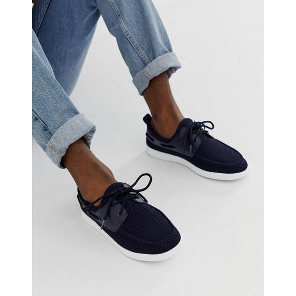 エイソス メンズ スニーカー シューズ ASOS DESIGN boat shoes in navy mesh Navy