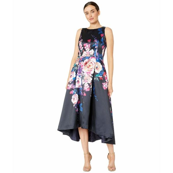 タハリ レディース ワンピース トップス Sleeveless Printed Floral Mikado High-Low Hemline Cascade Floral Black