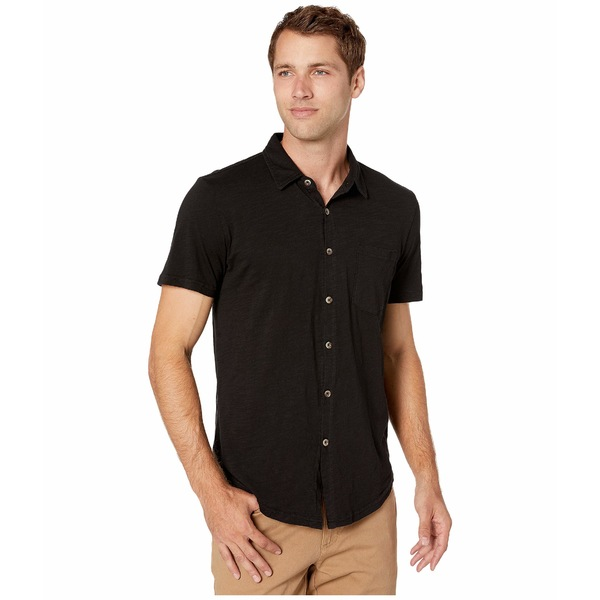 モッドドック メンズ シャツ トップス Montana Short Sleeve Button Front Shirt Black 1