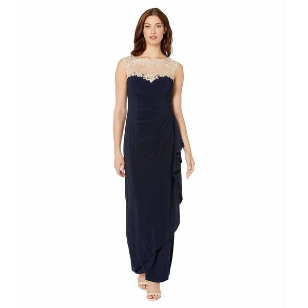 アレックスイブニングス レディース ワンピース トップス Long Sleeveless Side Ruched Dress with Embroidered Sweetheart Illusion Neckline Navy/Nude