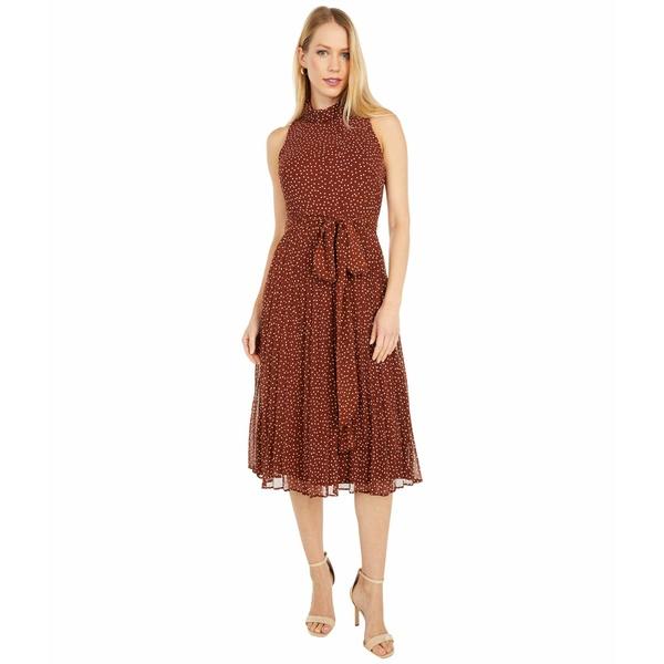 テイラー レディース ワンピース トップス Polka Dot Chiffon Tie Front Pleated Skirt Midi Dress Terra Ivory