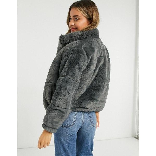 ニュールック メーカー再生品 レディース アウター コート Dark [ギフト/プレゼント/ご褒美] gray 全商品無料サイズ交換 dark puffer Look faux fur New in
