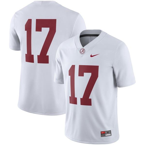 ナイキ メンズ ユニフォーム トップス #17 Alabama Crimson Tide Nike Game Jersey White