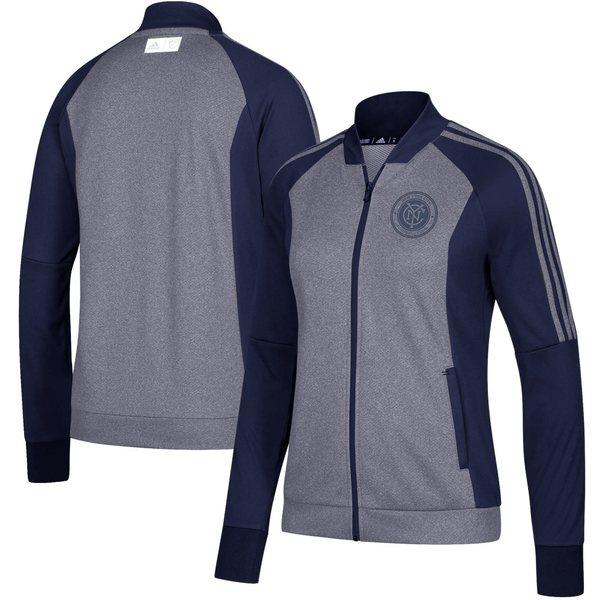 アディダス レディース ジャケット&ブルゾン アウター New York City FC adidas Women's Anthem FullZip Jacket Heathered Navy/Navy