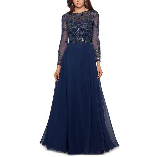 <title>エスケープ レディース トップス ワンピース Navy Blue 超特価 全商品無料サイズ交換 Embellished Chiffon Gown</title>