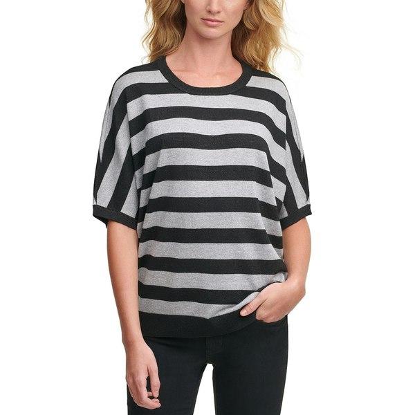 ニット&セーター ニューヨーク Black/silver Sweater レディース キャラン Striped ダナ アウター Lurex