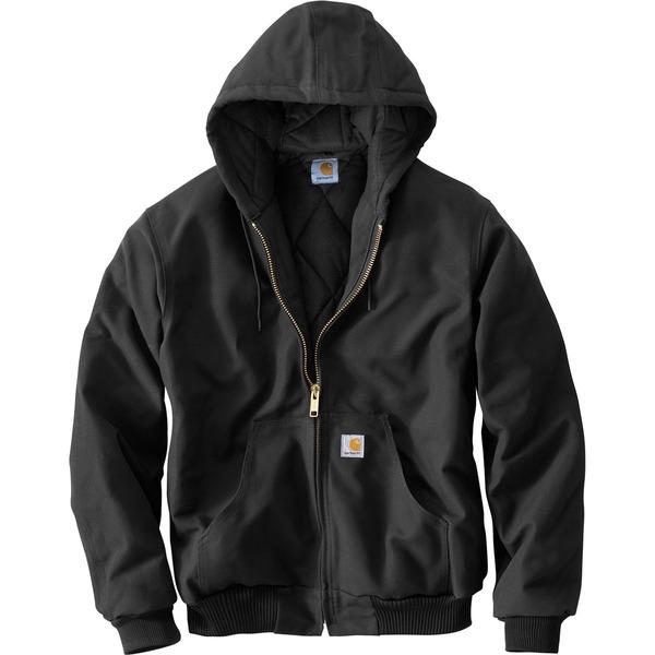 カーハート メンズ ジャケット&ブルゾン アウター Quilted Flannel-Lined Duck Active Jacket Black