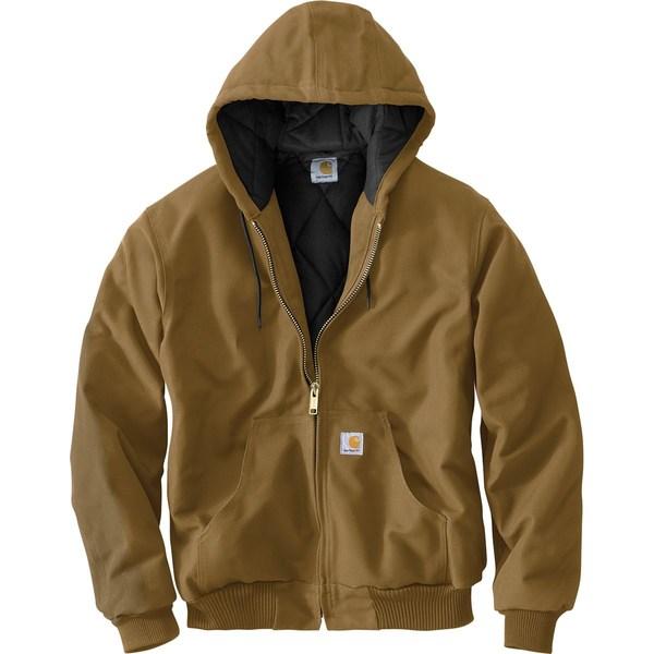 カーハート メンズ ジャケット&ブルゾン アウター Quilted Flannel-Lined Duck Active Jacket Carhartt Brown