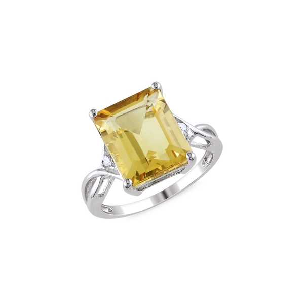 ソナティナ レディース リング アクセサリー Sterling Silver, Citrine & White Topaz Cocktail Ring Yellow