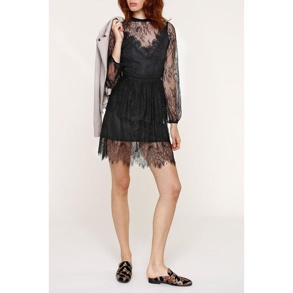 ハートルーム 信頼 レディース トップス ワンピース BLACK 全商品無料サイズ交換 Mini Freya 低廉 Dress Lace Sheer