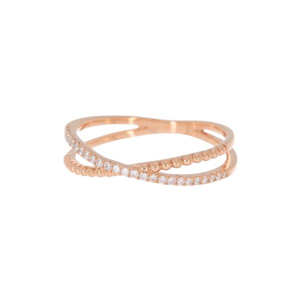ボニー レヴィ レディース アクセサリー リング 18KR 全商品無料サイズ交換 18K 奉呈 Rose - Crossover Diamond Beaded Ring Gold ctw 人気ブランド多数対象 0.13