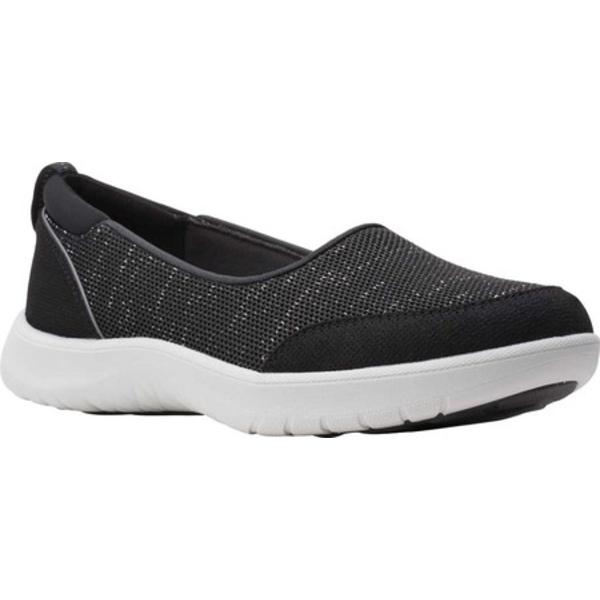 クラークス レディース スニーカー シューズ Adella Blush Slip On Sneaker Black Sparkle Textile