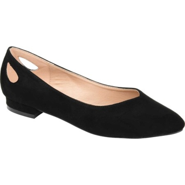 ジャーニーコレクション レディース サンダル シューズ Devon Ballet Flat Black Microsuede Fabric