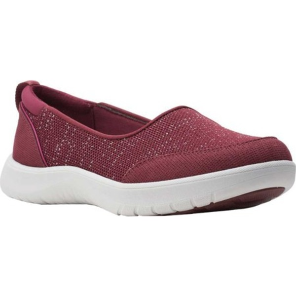 クラークス レディース スニーカー シューズ Adella Blush Slip On Sneaker Burgundy Sparkle Textile